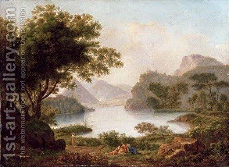 A river landscape with a pyramid, with classical figures on a bank by Jean-Pierre Pequignot - Reproduction Oil Painting