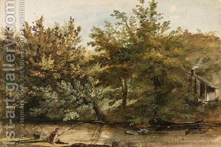 Trees on the Bank of a River, a fisherman in the foreground and a farmhouse in the background by Jean-Pierr Houel - Reproduction Oil Painting