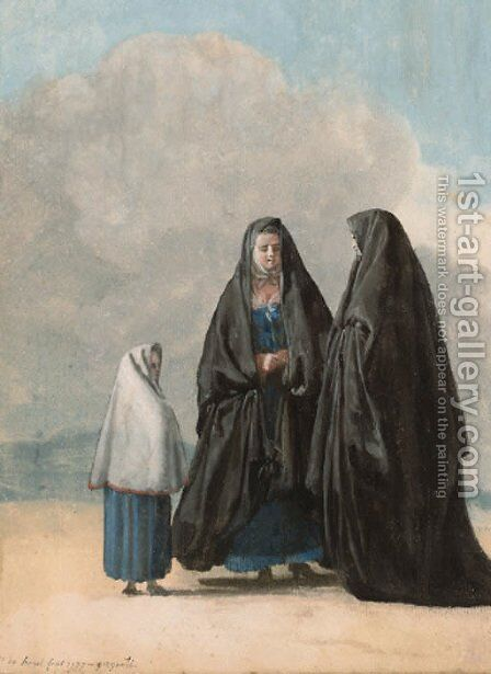 Women in Sicilian and Maltese costume by Jean-Pierr Houel - Reproduction Oil Painting