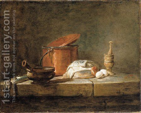 Leeks, a casserole with a cloth, a copper pot and cover, an onion and eggs with a pestle and mortar, on a stone ledge by Jean-Baptiste-Simeon Chardin - Reproduction Oil Painting