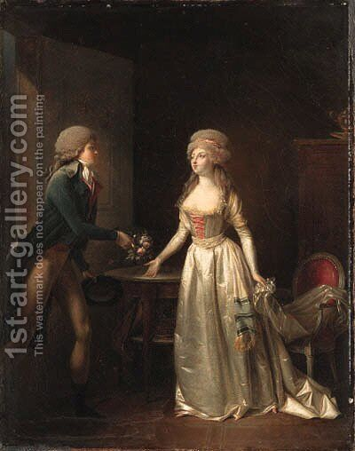 Interior scenes with a young woman being offered flowers by a suitor by Jean-Simon Fournier - Reproduction Oil Painting