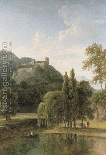 A river landscape with classical figures in a boat, a hilltop castle beyond by Jean-Victor Bertin - Reproduction Oil Painting
