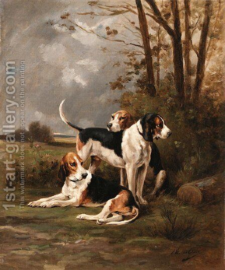 Hunting beagles by Jean Victor Albert De Gesne - Reproduction Oil Painting