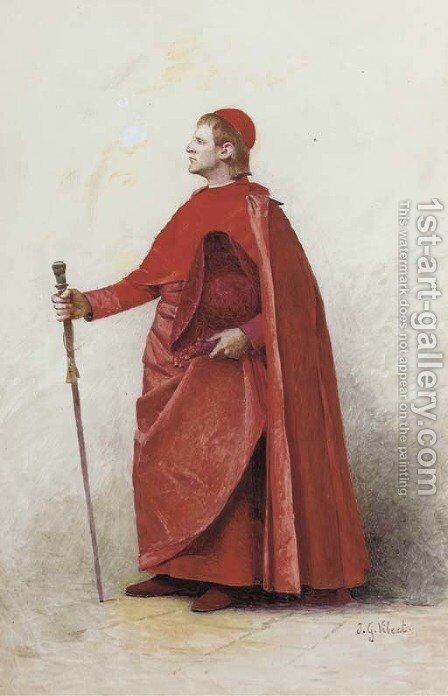 A Cardinal by Jehan Georges Vibert - Reproduction Oil Painting