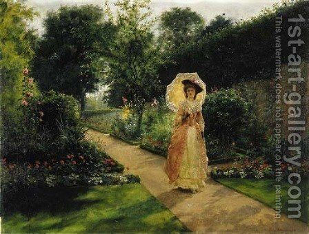 A Garden Stroll by Jennie Augusta Brownscombe - Reproduction Oil Painting