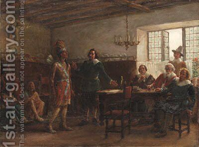 Massasoit Signing a Treaty by Jennie Augusta Brownscombe - Reproduction Oil Painting