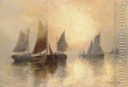 The fishing fleet at sunrise; and The fishing fleet at dusk by Joachim Van Hier - Reproduction Oil Painting