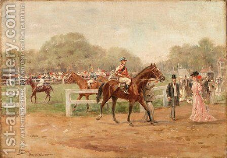 At the races by Joaquin Pallares y Allustante - Reproduction Oil Painting