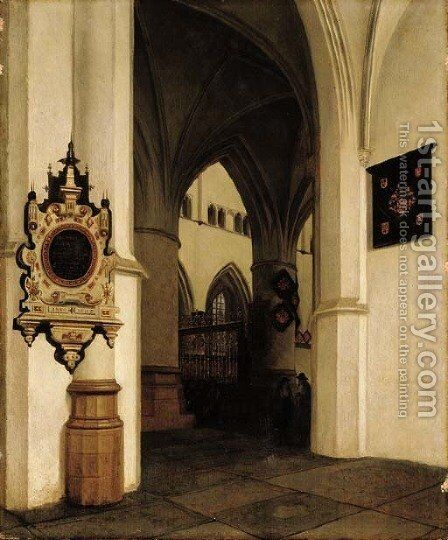 The interior of the St. Bavokerk, Haarlem, looking south-west towards the choir screen by Job Adriaensz. Berckheyde - Reproduction Oil Painting