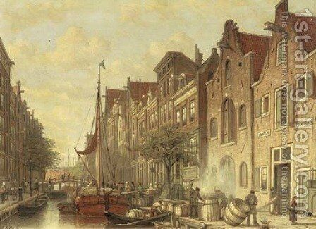 Barrelmakers De Haan en Zonen on the busy Elandsgracht, Amsterdam by Johan Adolph Rust - Reproduction Oil Painting