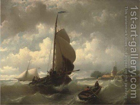 Raising the sails near Hoorn by Johan Adolph Rust - Reproduction Oil Painting