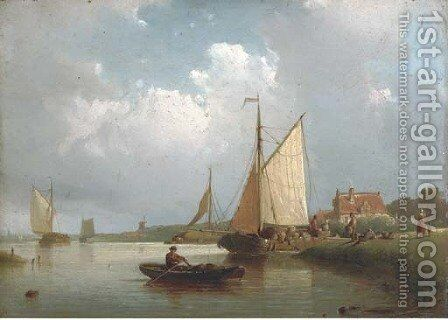 Shipping on a calm by Johan Adolph Rust - Reproduction Oil Painting