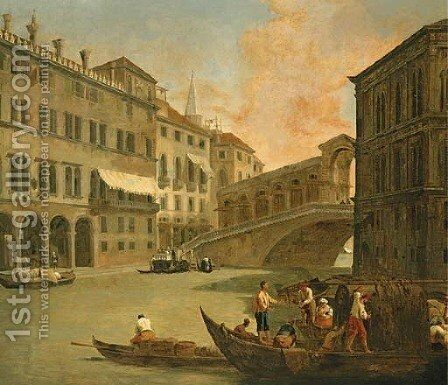 Venice, a view of the Grand Canal with the Rialto Bridge from the North by Johann Richter - Reproduction Oil Painting