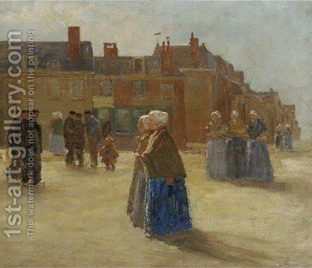 Figures in traditional dress in a sunlit street by Johan Antonio de Jonge - Reproduction Oil Painting