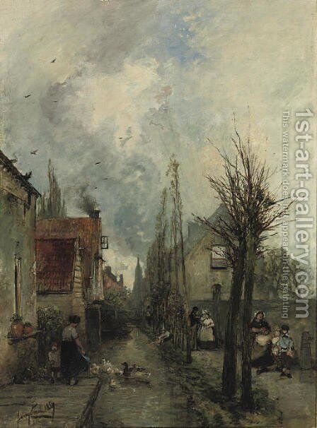 Au bord du canal, Delft by Johan Barthold Jongkind - Reproduction Oil Painting