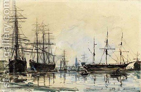 Shipping at Antwerp by Johan Barthold Jongkind - Reproduction Oil Painting