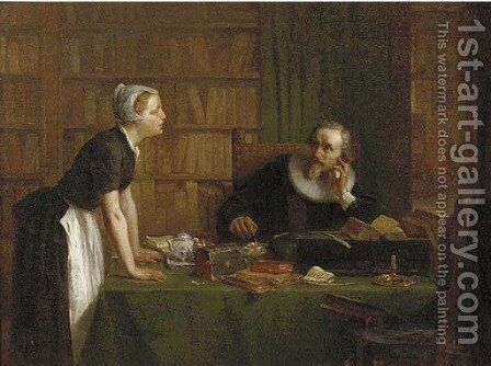 Jacob Cats in his library, Zorgvliet by Johan Bernard Wittkamp - Reproduction Oil Painting