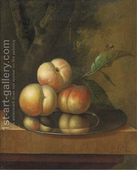 Peaches and a bee on a pewter platter by Johan Christiaan Roedig - Reproduction Oil Painting