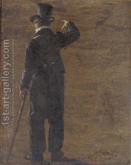 A figure in a morning coat and top hat, seen from behind by Johan Christian Clausen Dahl - Reproduction Oil Painting