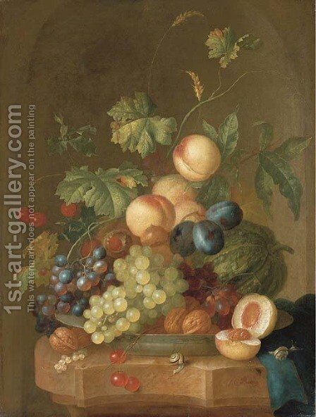 Grapes, cherries, plums, peaches, walnuts and a melon in a porcelain bowl by Johan Christian Roedig - Reproduction Oil Painting