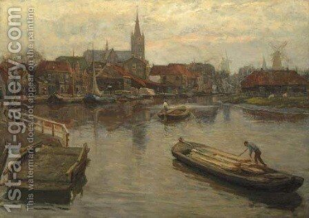 Gezicht op Schiedam a view of the harbour of Schiedam by Johan Coenraad Ulrich Legner - Reproduction Oil Painting