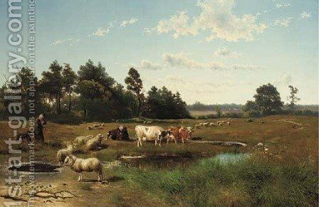 A summer landscape with cattle grazing by Johan Daniel Koelmann - Reproduction Oil Painting