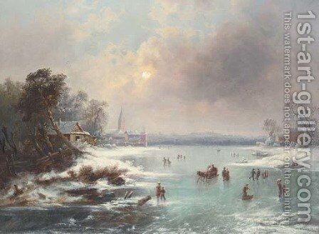 Figures Ice Skating on a Frozen Lake by Johan Friedrich Nagel - Reproduction Oil Painting