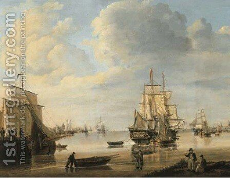 Moored vessels, Dutch three-masters and a rowing boat in a calm, a city beyond by Johan Hendrik Boshamer - Reproduction Oil Painting