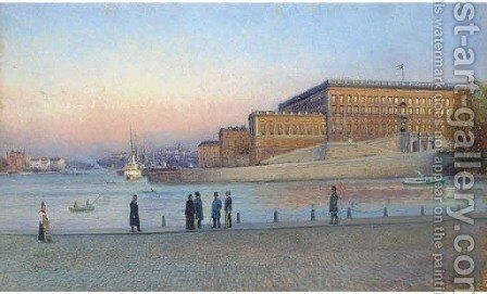 Elegant figures on the quay before the Royal Palace, Stockholm by Johan Kindborg - Reproduction Oil Painting