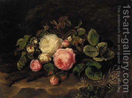 Pink and white roses on a mossy rock by Johan Laurentz Jensen - Reproduction Oil Painting