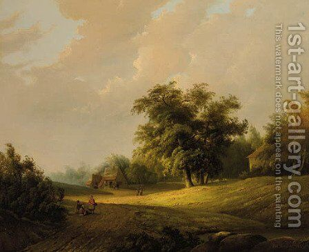 Peasants on a sandy trail in a wooded landscape by Johan Maurisz Jansen - Reproduction Oil Painting