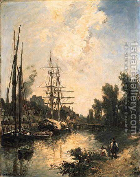 Bateaux au quai by Johan Barthold Jongkind - Reproduction Oil Painting