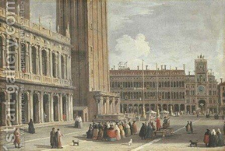 Venice the Piazza San Marco looking north from the Piazzetta towards the Torre del'Orologio by Johann Richter - Reproduction Oil Painting