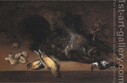 A hunting still life with a boar's head by Johann Adalbert Angermayer - Reproduction Oil Painting