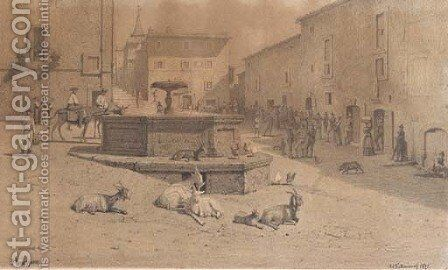The square at Genazzano, with goats at a fountain by Johann Adolf Kittendorf - Reproduction Oil Painting