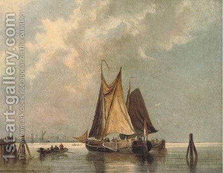 Dutch barges in light airs by Johann Adolphe Rust - Reproduction Oil Painting