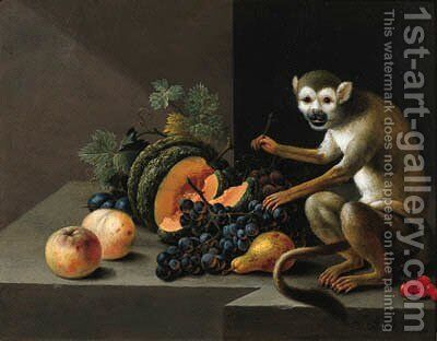 A monkey with grapes, peaches, a melon and other fruit on a stone ledge by Johann Amandus Winck - Reproduction Oil Painting