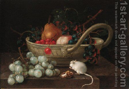 Grapes, pears and other fruit in a bowl, with a mouse eating a hazlenut on a ledge and by Johann Amandus Wink - Reproduction Oil Painting