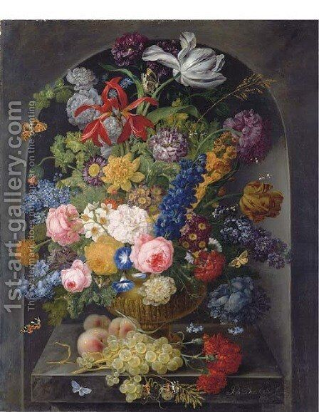 Roses, carnations, tulips and other flowers in a gold sculpted urn with peaches and grapes on a stone ledge with butterflies, in a niche by Johann Baptist Drechsler - Reproduction Oil Painting