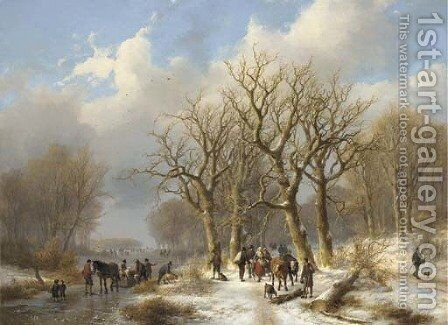 A winter woodland landscape by Johann Bernard Klombeck - Reproduction Oil Painting