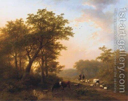 Return of the cattle by Johann Bernard Klombeck - Reproduction Oil Painting