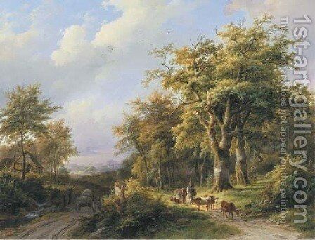 Travellers resting on a forest path in a wooded valley by Johann Bernard Klombeck - Reproduction Oil Painting