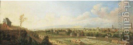 A panoramic view of Frankfurt am Main, with peasants bleaching linen by Johann Caspar Zehender - Reproduction Oil Painting