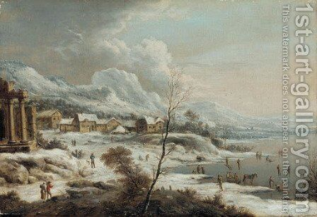 A Rhenish winter landscape with ice skaters by Johann Christian Vollerdt or Vollaert - Reproduction Oil Painting