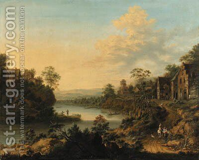 A river landscape with a hamlet and peasants on a path by Johann Christian Vollerdt or Vollaert - Reproduction Oil Painting