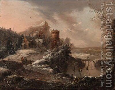 A winter landscape with travellers on a path and skaters on a river, a town and houses nearby by Johann Christian Vollerdt or Vollaert - Reproduction Oil Painting