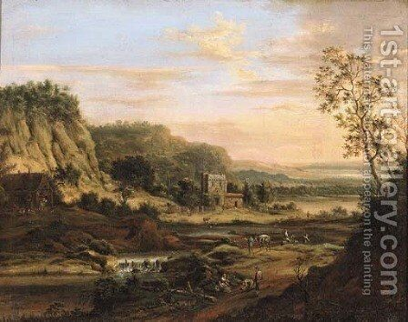 Peasants on a road by a river in a Rhenish landscape by Johann Christian Vollerdt or Vollaert - Reproduction Oil Painting