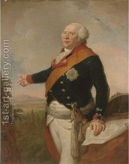 Portrait of King Frederick William II of Prussia (1744-1797), three-quarter-length, in uniform with the sash by Johann Christoph Frisch - Reproduction Oil Painting