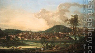 View of Prague from the East by Johann Friedrich Meyer - Reproduction Oil Painting