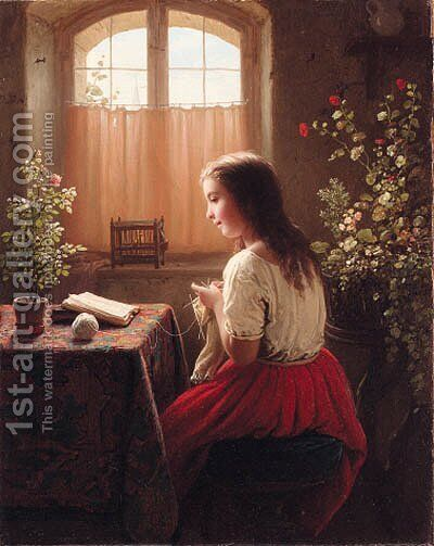 MeyePortrait of a girl by Johann Georg Meyer von Bremen - Reproduction Oil Painting